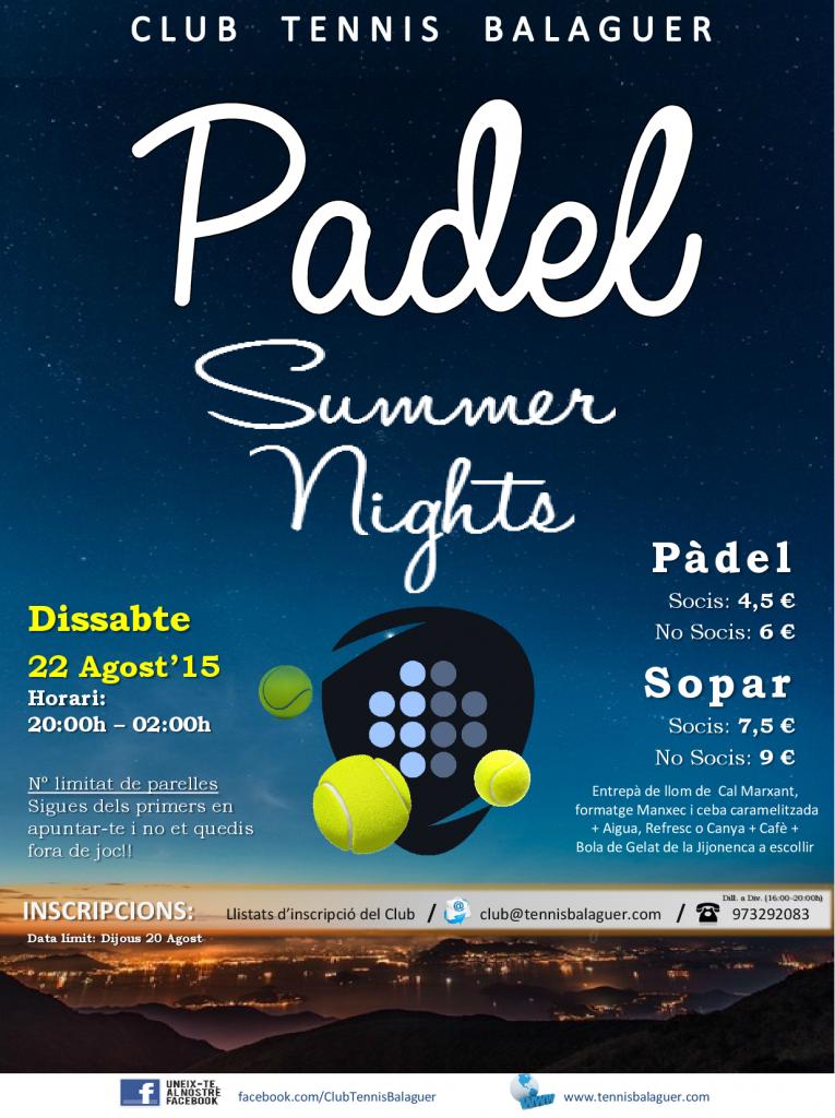PADEL SUMMER NIGHTS 2015 - 22 Agost'15